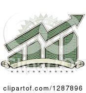 American Dollar Themed Bar Graph And Growth Arrow With A Blank Banner Stars And Office Use Stamp