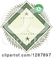 Clipart Of An American Dollar Themed Diamond Frame With Stars A Laurel Wreath And Stamp Royalty Free Vector Illustration