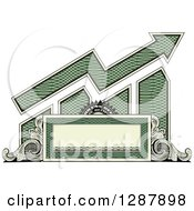 Clipart Of An American Dollar Themed Bar Graph And Growth Arrow With A Blank Banner Frame And Scrolls Royalty Free Vector Illustration