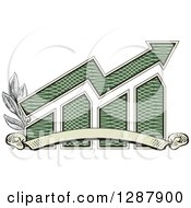 Clipart Of An American Dollar Themed Bar Graph And Growth Arrow With A Blank Banner And Branches Royalty Free Vector Illustration