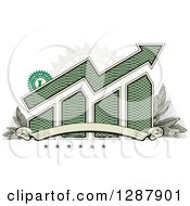 Clipart Of An American Dollar Themed Bar Graph And Growth Arrow With A Blank Banner Stars Stamp And Leaves Royalty Free Vector Illustration