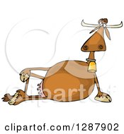 Clipart Of A Relaxed Brown Cow Resting On Its Side Royalty Free Vector Illustration