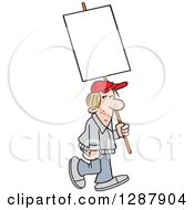 Clipart Of A Dirty Blond Caucasian Man Walking With A Blank Sign Royalty Free Vector Illustration