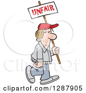 Clipart Of A Dirty Blond Caucasian Man Walking With An Unfair Sign Royalty Free Vector Illustration