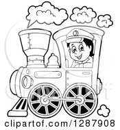 Clipart Of A Black And White Happy Male Train Engineer Driving Royalty Free Vector Illustration