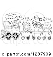 Clipart Of A Black And White Happy Male Train Engineer Driving Children In Cars Royalty Free Vector Illustration