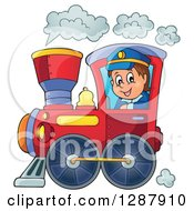 Happy White Male Train Engineer Driving A Steam Engine