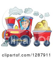 Clipart Of A Happy White Male Train Engineer Driving A Steam Engine With A Cart Of Sand Royalty Free Vector Illustration