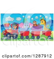 Clipart Of A Happy White Male Train Engineer Driving A Steam Engine With Animals In Carts Through An African Landscape Royalty Free Vector Illustration