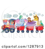 Clipart Of A Happy White Male Train Engineer Driving A Steam Engine With African Animals In Carts Royalty Free Vector Illustration by visekart