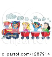 Clipart Of A Happy White Male Train Engineer Driving A Steam Engine With Caucasian Children In Carts Royalty Free Vector Illustration