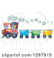 Clipart Of A Happy White Male Train Engineer Driving A Steam Engine With Carts Royalty Free Vector Illustration