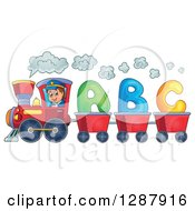 Clipart Of A Happy White Male Train Engineer Driving A Steam Engine With ABC Alphabet Carts Royalty Free Vector Illustration by visekart