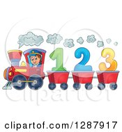 Clipart Of A Happy White Male Train Engineer Driving A Steam Engine With 123 Number Carts Royalty Free Vector Illustration by visekart