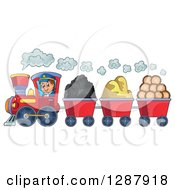 Clipart Of A Happy White Male Train Engineer Driving A Steam Engine With Coal Sand And Lumber Carts Royalty Free Vector Illustration by visekart