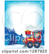 Clipart Of A Border Of A Happy White Male Train Engineer Driving A Steam Engine Over A Winter Landscape Royalty Free Vector Illustration