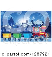 Clipart Of A Happy White Male Train Engineer Driving A Steam Engine By A Station At Night Royalty Free Vector Illustration