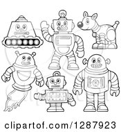 Clipart Of Black And White Robots Royalty Free Vector Illustration by visekart