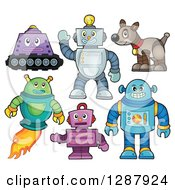 Clipart Of Robots And A Dog Royalty Free Vector Illustration by visekart