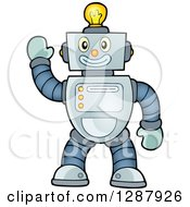 Clipart Of A Friendly Waving Robot With A Light Bulb On His Head Royalty Free Vector Illustration