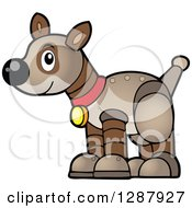Clipart Of A Brown Pet Robot Dog Royalty Free Vector Illustration by visekart