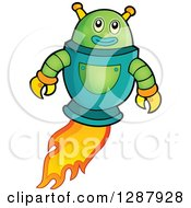 Clipart Of A Green Robot Flying With A Flame Trail Royalty Free Vector Illustration