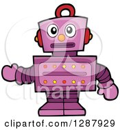 Clipart Of A Worried Purple Robot Gesturing Royalty Free Vector Illustration by visekart