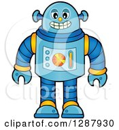 Clipart Of A Grinning Blue Robot Royalty Free Vector Illustration by visekart