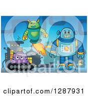 Clipart Of Robots In A Factory Royalty Free Vector Illustration by visekart