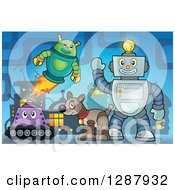 Clipart Of Robots And A Dog In A Factory Royalty Free Vector Illustration by visekart