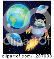 Clipart Of A Robot Flying With Ufos In Outer Space Royalty Free Vector Illustration by visekart