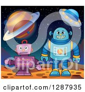 Clipart Of Robots On A Foreign Planet Royalty Free Vector Illustration by visekart