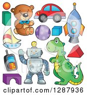 Clipart Of Boy Toys Royalty Free Vector Illustration by visekart