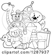 Clipart Of A Black And White Box Of Toys Royalty Free Vector Illustration by visekart