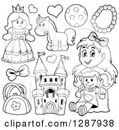 Clipart Of Black And White Girls Toys Royalty Free Vector Illustration by visekart