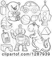 Clipart Of Black And White Shapes Balls Robots And Toys Royalty Free Vector Illustration by visekart
