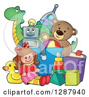 Clipart Of A Box Overflowing With Childrens Toys Royalty Free Vector Illustration