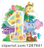 Colorful Number One With A Cute Monkey Elephant Giraffe Parrot And Hippo