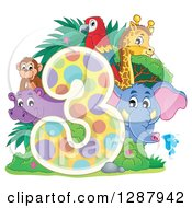 Clipart Of A Colorful Number Three With A Cute Monkey Elephant Giraffe Parrot And Hippo Royalty Free Vector Illustration by visekart
