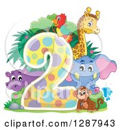 Clipart Of A Colorful Number Two With A Cute Monkey Elephant Giraffe Parrot And Hippo Royalty Free Vector Illustration by visekart