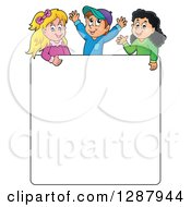 Clipart Of A Blank White Sign Board With Happy Children Above Royalty Free Vector Illustration