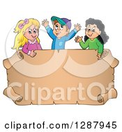 Clipart Of A Blank Parchment Scroll Sign With Happy Caucasian And Hispanic Children Above Royalty Free Vector Illustration by visekart