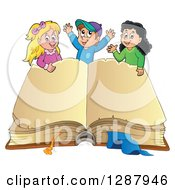 Clipart Of A Large Aged Open Book With Blank Pages And Happy Caucasian And Hispanic Children Royalty Free Vector Illustration