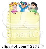 Clipart Of A Yellow Ruled Page And Happy Caucasian And Hispanic Children Royalty Free Vector Illustration