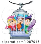 Clipart Of Happy Caucasian Children Riding In A Ski Lift Royalty Free Vector Illustration