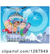 Clipart Of Happy Caucasian Children Riding In A Ski Lift Over Snowy Mountains Royalty Free Vector Illustration by visekart
