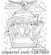 Clipart Of Black And White Happy Children Riding In A Ski Lift Royalty Free Vector Illustration by visekart