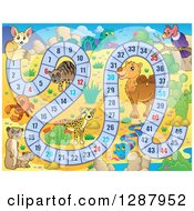Clipart Of A Numbered Board Game With Desert Animals Royalty Free Vector Illustration by visekart