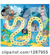 Clipart Of A Numbered Board Game With Pirates And A Treasure Chest Royalty Free Vector Illustration by visekart