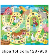 Clipart Of A Numbered Board Game With A Farmer And Animals Royalty Free Vector Illustration by visekart